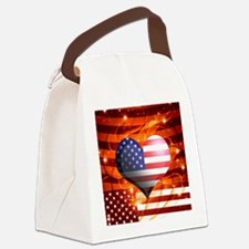 USA american flag heart patriotic Canvas Lunch Bag