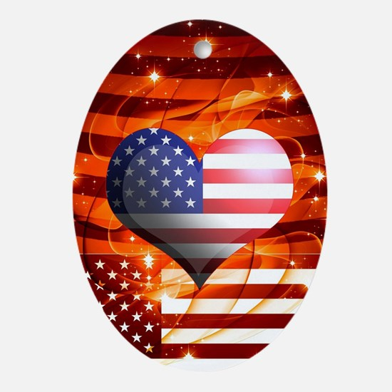 USA american flag heart patriotic de Oval Ornament