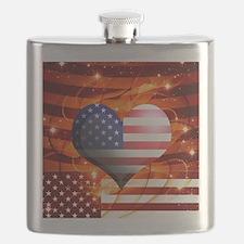 USA american flag heart patriotic design Flask