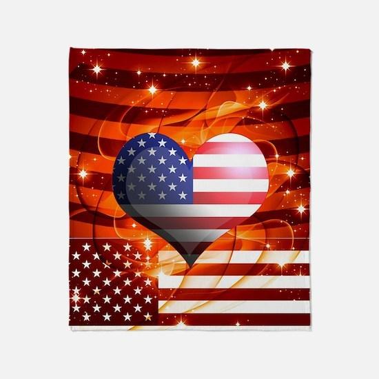 USA american flag heart patriotic de Throw Blanket