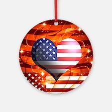 USA american flag heart patriotic d Round Ornament