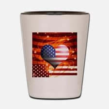 USA american flag heart patriotic desig Shot Glass