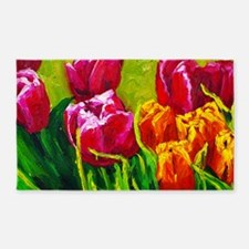 Tulip Watercolor Painting 3'x5' Area Rug