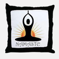 Morning Yoga, Rising Sun, Namaste Throw Pillow