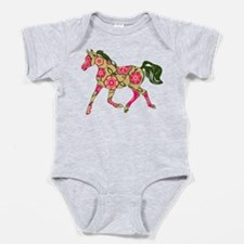 Floral Horse Baby Bodysuit