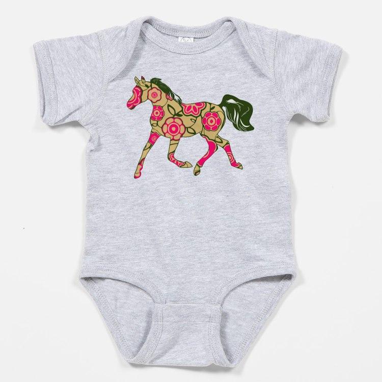 Floral Horse Baby Bodysuit