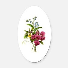 Redoute Bouquet Oval Car Magnet