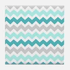 Teal Grey White Chevron Tile Coaster