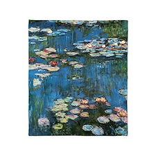 Waterlilies by Claude Monet, Vintage Throw Blanket