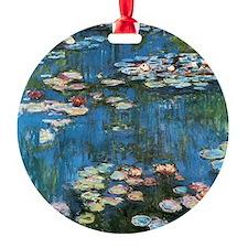 Waterlilies by Claude Monet, Vintag Round Ornament