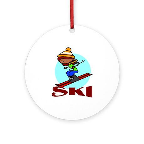 Ski Ornament (Round)