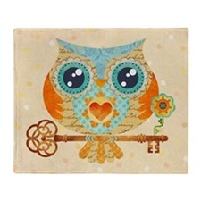 Owl's Summer Love Letters Throw Blanket