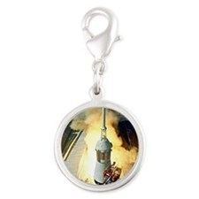 Appolo 11 Launch First moon la Silver Round Charm