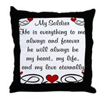 Army Poem of Love Throw Pillow