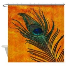 Peacock with Orange Shower Curtain