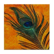 Peacock with Orange Tile Coaster