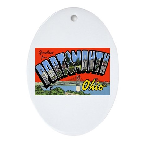 Portsmouth Ohio Greetings Oval Ornament