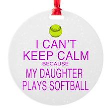 My Daughter plays softball Round Ornament