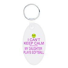 My Daughter plays softball Keychains