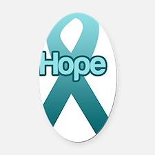 Hope teal ribbon Oval Car Magnet