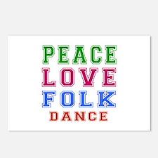 Peace Love Folk Dance Postcards (Package of 8)