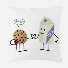 Cute Couple Showing Love Woven Throw Pillow