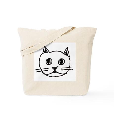 Original Cute Cat Face Illustration Tote Bag