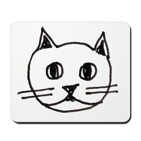 Original Cute Cat Face Illustration Mousepad