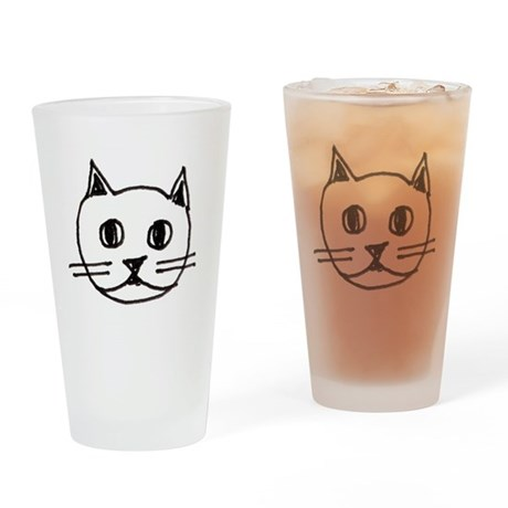 Original Cute Cat Face Illustration Drinking Glass