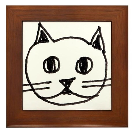 Original Cute Cat Face Illustration Framed Tile
