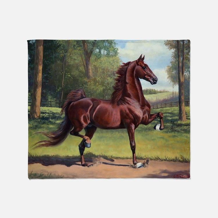 Cute American saddlebred Throw Blanket