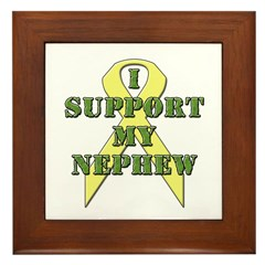 I Support My Nephew Framed Tile