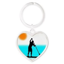 Paddle Boarder Heart Keychain