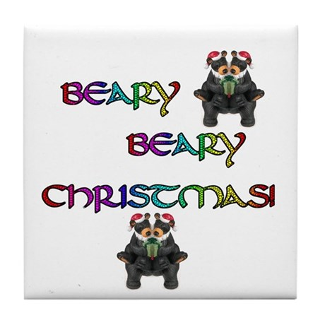 BEARY BEARY CHRISTMAS W/BEARS Tile Coaster