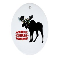 Merry Chrismoose Ornament (Oval)