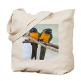 Blue throat macaw Canvas Totes