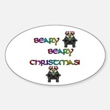 BEARY BEARY CHRISTMAS W/BEARS Oval Decal