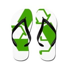 Green Recycling Symbol Flip Flops