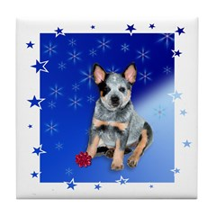 Starry Wishes Blue Holiday Tile Coaster