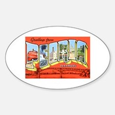 Peoria Illinois Greetings Oval Decal