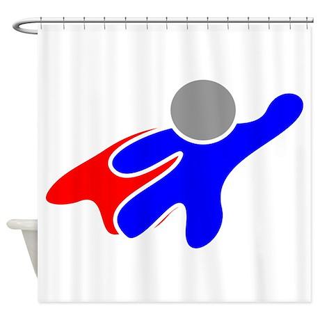 Cartoon superhero shower curtain by istudiodesigns for Superhero shower curtain