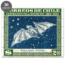 Antique 1948 Chile Red Fruit Bat Postage Stamp Puz