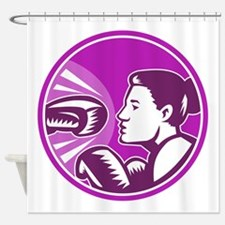 Female Boxer Punch Retro Shower Curtain