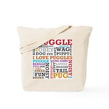 Puggle Words Tote Bag