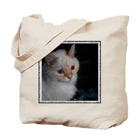 White Longhaired Cat: Kikoe Tote Bag