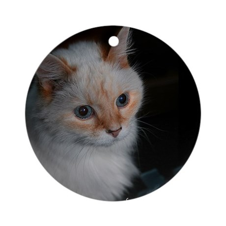 White Longhaired Cat: Kikoe Ornament (Round)
