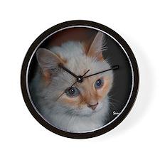White Longhaired Cat: Kikoe Wall Clock