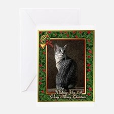 Egyptian Mau Cat Christmas Greeting Card