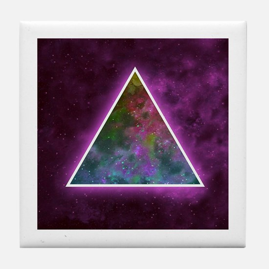 Space Nebulous Triangle on Neon Purpl Tile Coaster