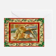 Red Tabby Cat Christmas Greeting Card